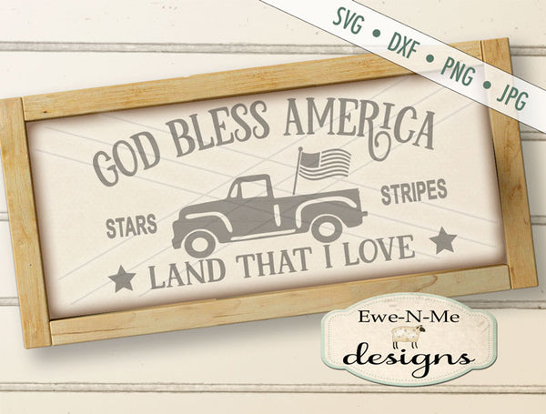 God Bless America Truck - SVG