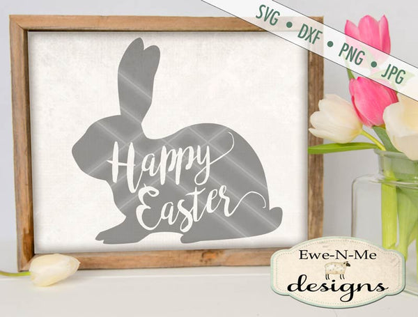Happy Easter Bunny Silhouette - SVG