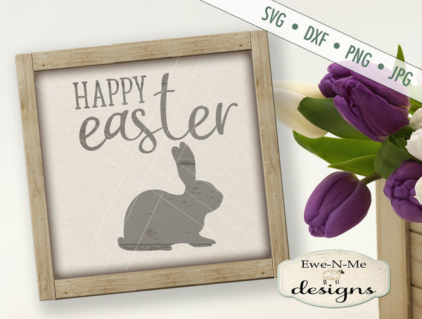 Happy Easter with Bunny Silhouette - SVG