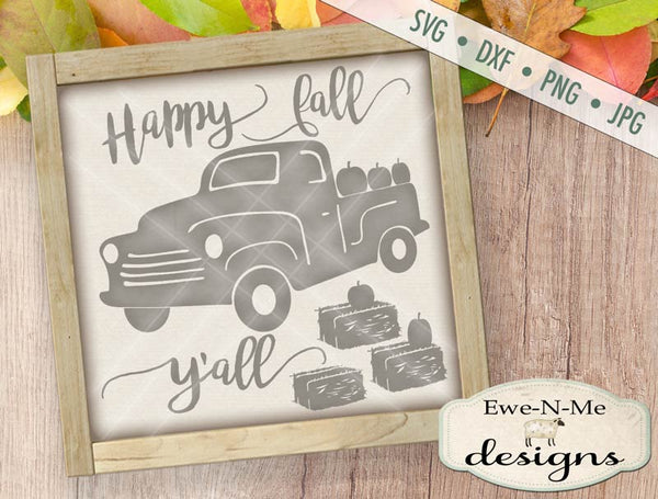 Happy Fall Y'all Truck with Pumpkins - SVG