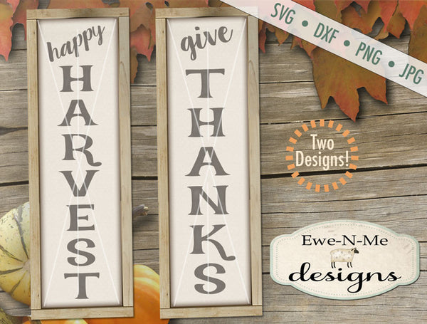 Happy Harvest - Give Thanks Vertical - SVG