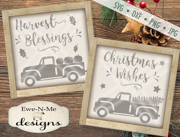 Harvest Blessings Christmas Wishes Truck - SVG