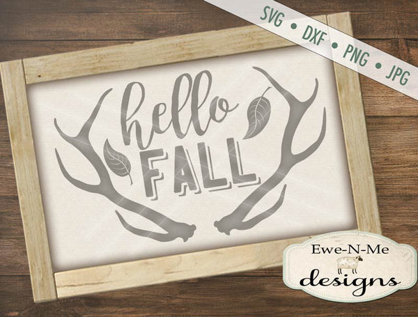 Hello Fall Antlers - SVG