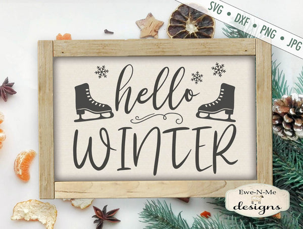 Hello Winter - Ice Skates - SVG