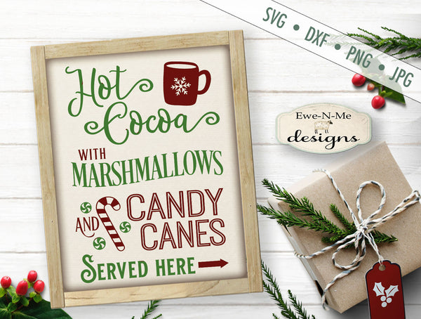 Hot Cocoa Marshmallow Candy Canes - SVG