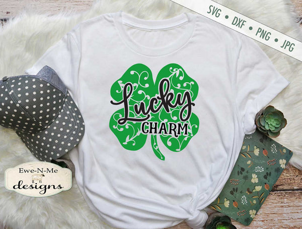 Lucky Charm Shamrock with Vines - SVG