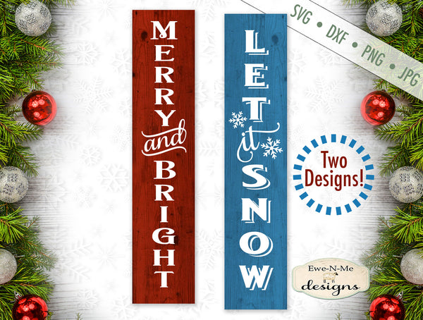 Merry & Bright - Let It Snow Vertical - SVG