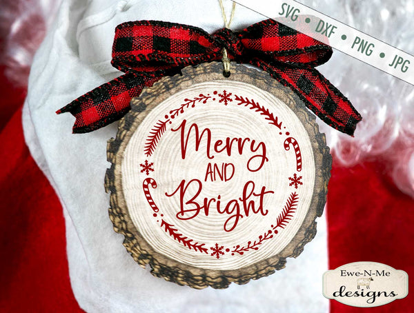Merry and Bright - Christmas - Wreath - SVG