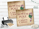 North Pole Candy Canes Tags or Labels - PRINTABLE