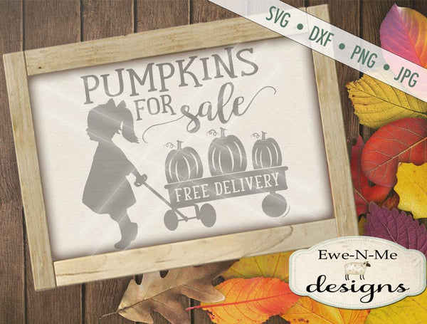 Pumpkins For Sale Wagon Girl - SVG