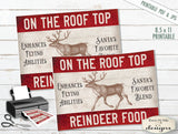 Rooftop Reindeer Food Tags Labels - PRINTABLE