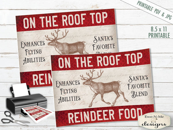 image relating to Printable Reindeer Food Tags identified as Rooftop Reindeer Meals Tags Labels - PRINTABLE
