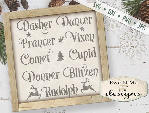 Reindeer Names - SVG