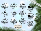 Reindeer Names Bundle - North Pole Santa Christmas - SVG