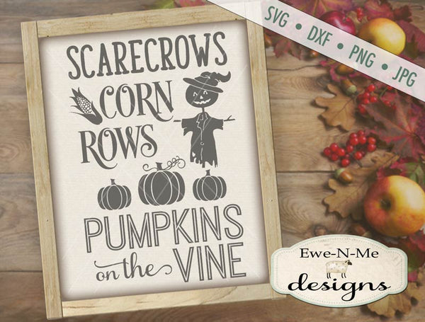 Scarecrows Corn Rows Pumpkins on the Vine - SVG
