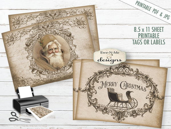 Merry Christmas Santa and Sleigh Tags Labels - PRINTABLE