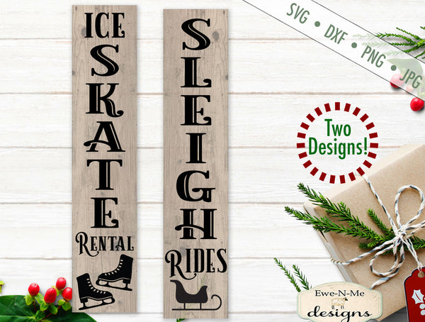 Sleigh Rides - Skate Rental - Vertical Christmas - SVG