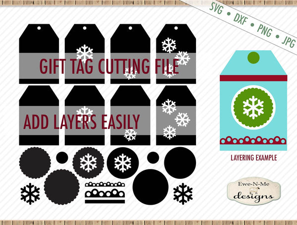 Snowflake Gift Tag Cut File - SVG