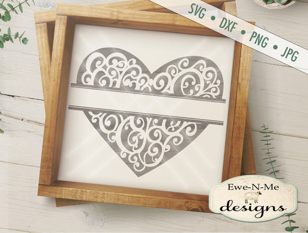 Split Heart with Swirls - SVG