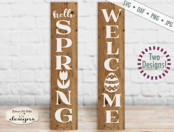 Hello Spring Welcome Easter Vertical - SVG
