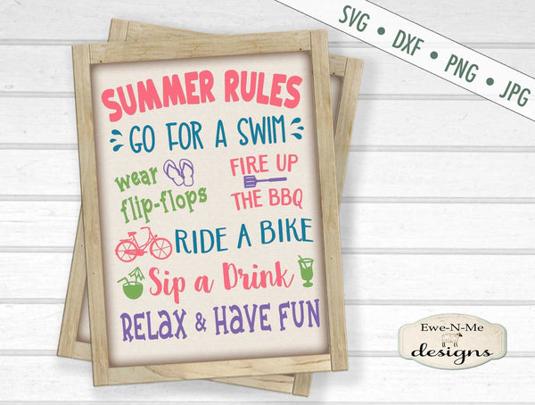 Summer Rules - Summer Sign - SVG