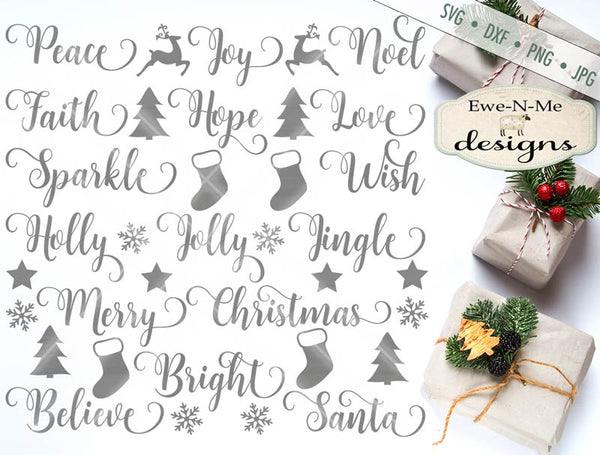 Swirly Christmas Words - SVG