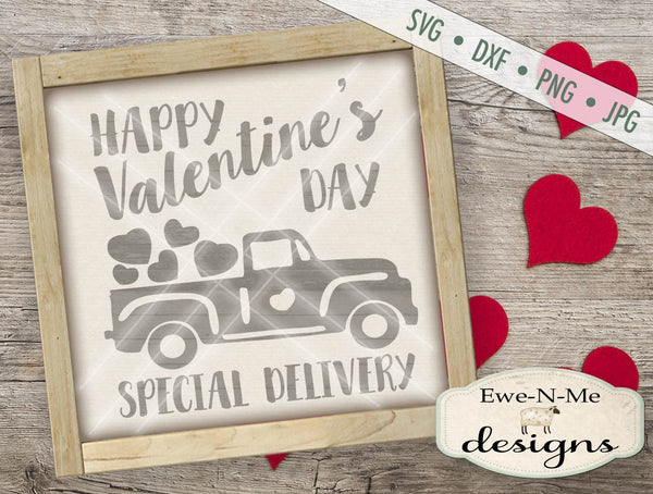 Happy Valentine's Day Truck - SVG