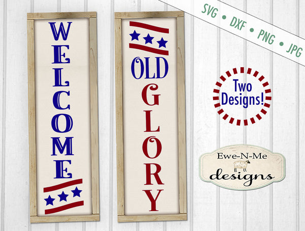 Old Glory Patriotic Vertical  - SVG
