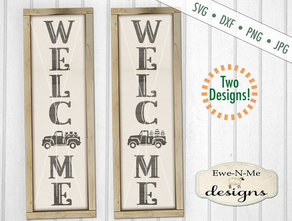 Welcome Spring Easter Vintage Truck Porch Sign Design  - SVG