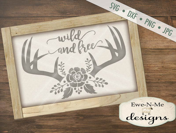 Wild and Free Boho Antlers - SVG