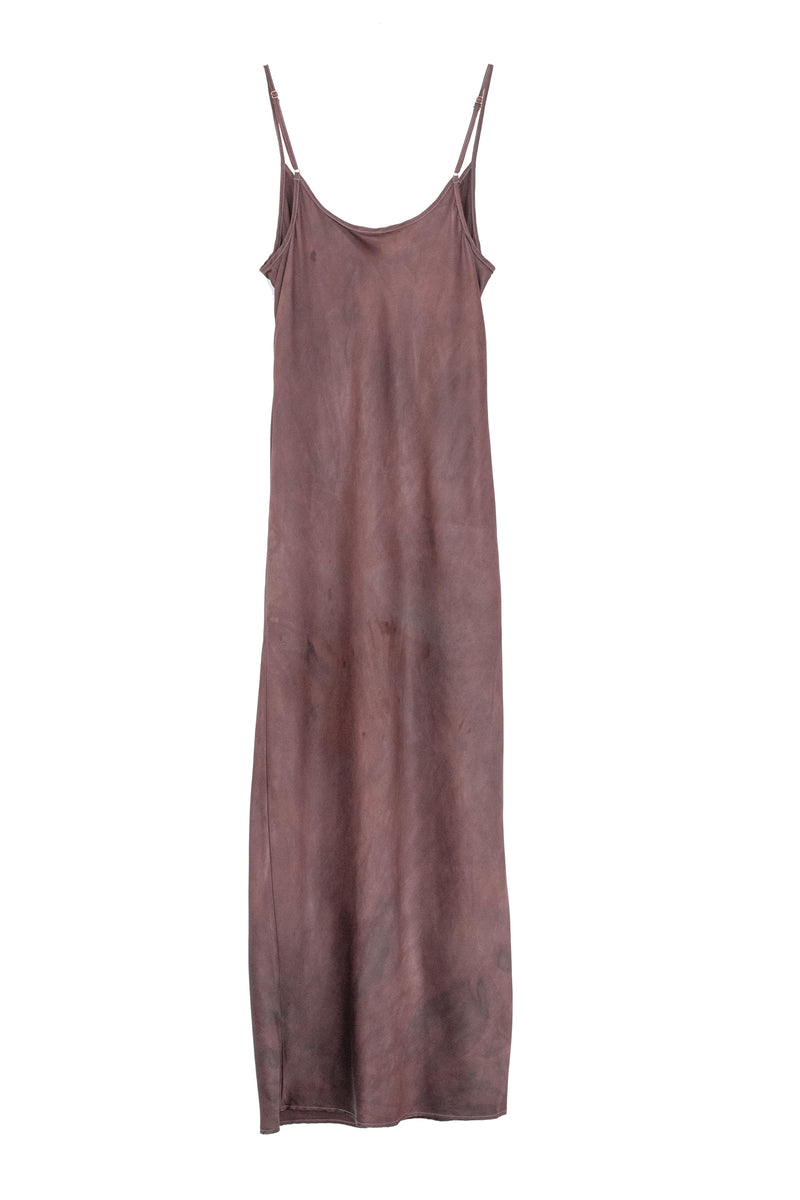 back of silk midi slip dress in a muted berry brown color