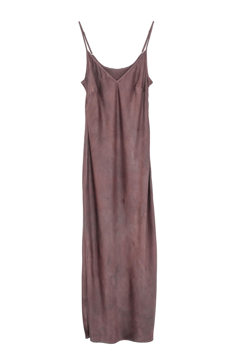 silk midi slip dress in a muted berry brown color