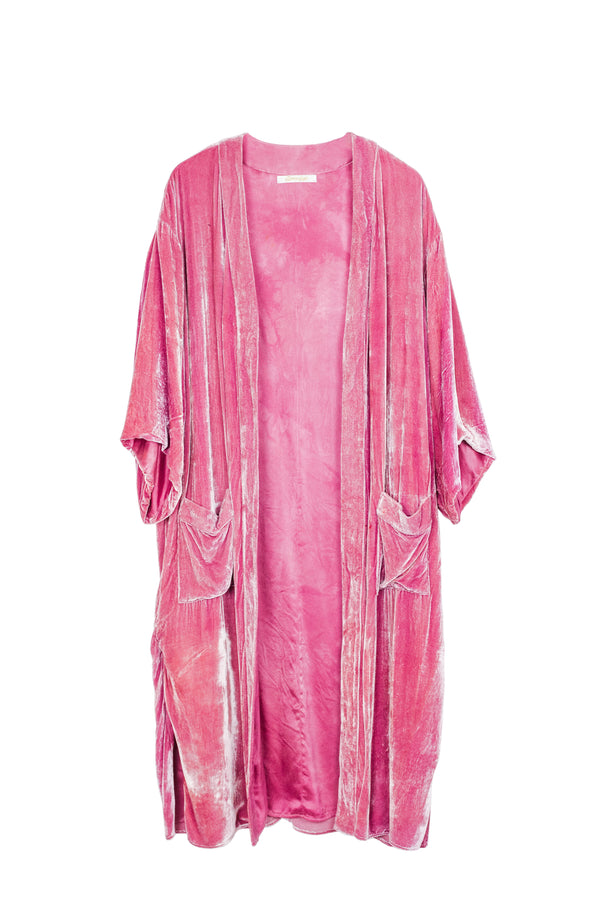 Velvet Ceremony Duster - Lotus Flower - M