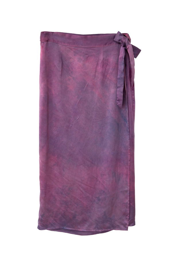 front of silk wrap skirt in magenta purple color