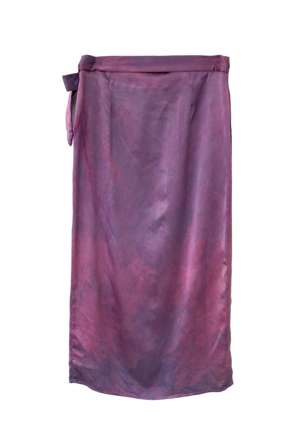 back of silk wrap skirt in magenta purple color