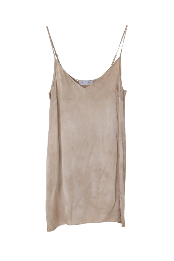 front of silk mini slip dress in almond greige color