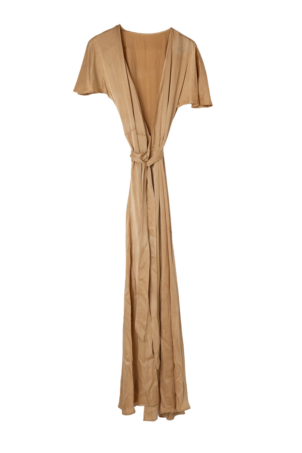 front of muted copper silk wrap dress