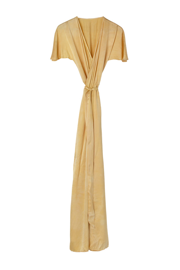 front of silk wrap dress in yellow lemon iris color