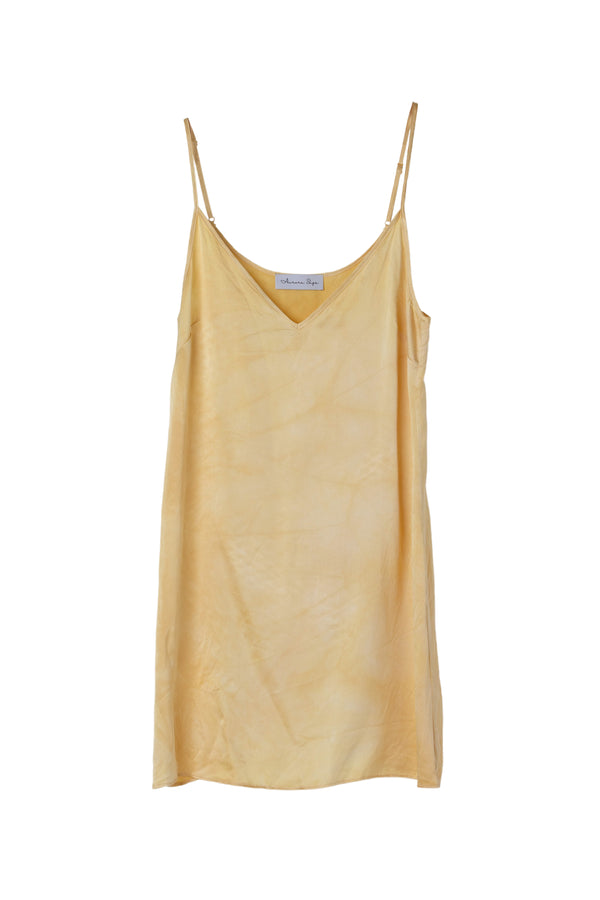 front of silk mini slip dress in yellow