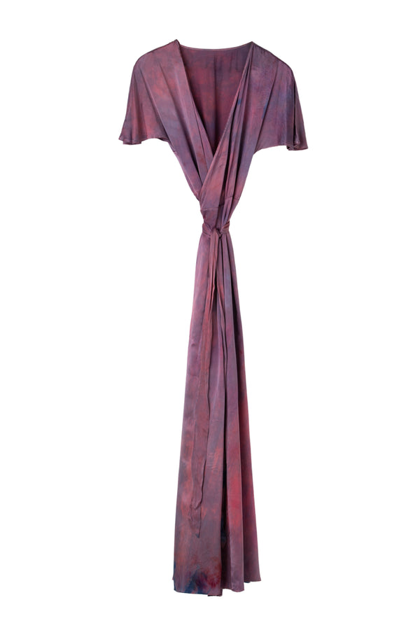 front of silk wrap dress in magenta purple color