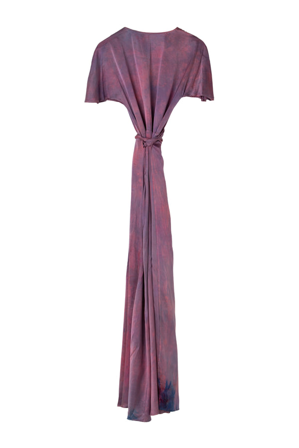 back of silk wrap dress in magenta purple color