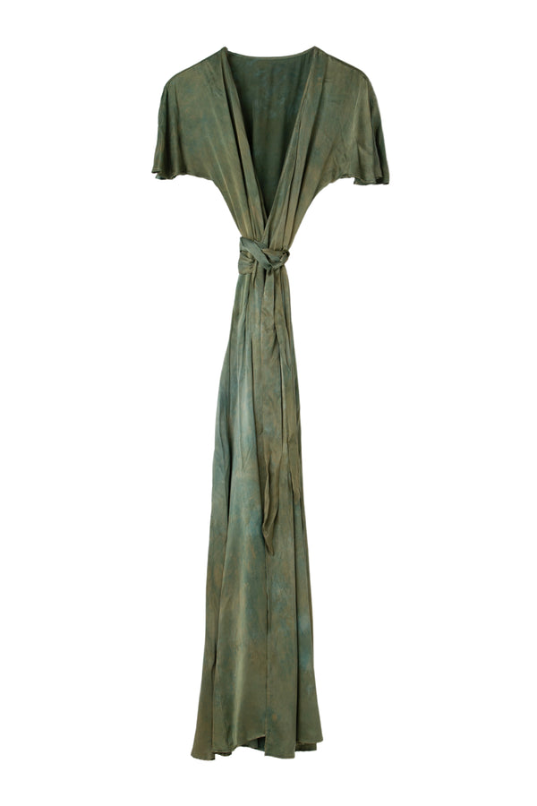 front of silk wrap dress in moss green