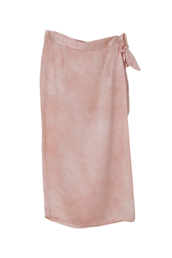 front of silk wrap skirt in light dusty rose color