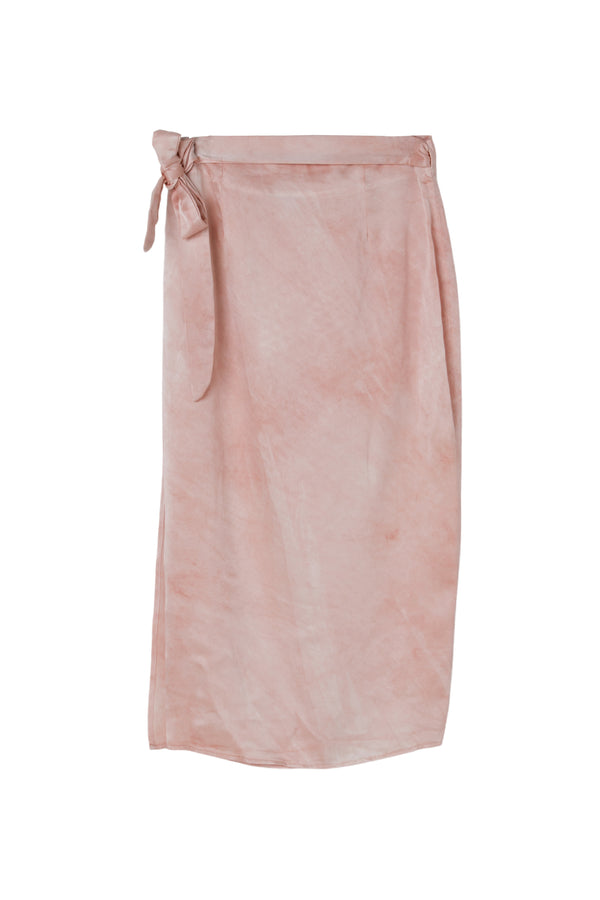 back of silk wrap skirt in light dusty rose color