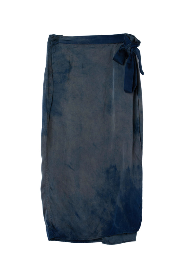 front of silk wrap skirt in sapphire blue color with unique markings