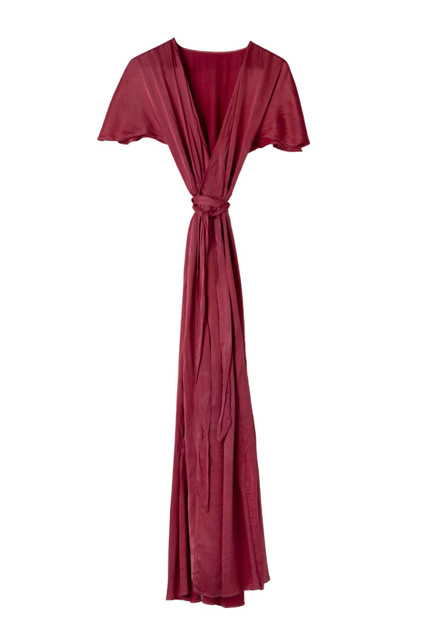 front of muted red silk wrap dress