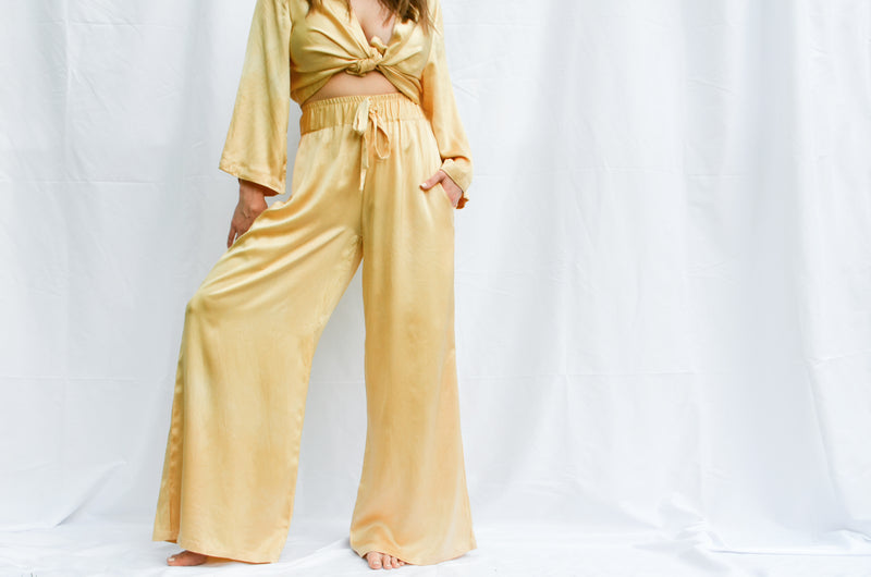FRIDA WIDE LEG PANT - LEMON IRIS - M - Last One Left!