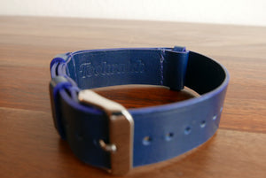 Blue Leather Handmade NATO Watch Strap
