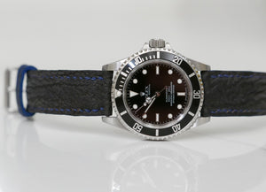 Blue Shark Leather Handmade Watch Strap Toolwatch Rolex Submariner