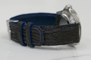 Blue Shark Leather Handmade Watch Strap Toolwatch